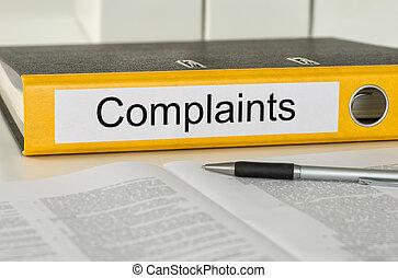 plaintes, dossier, étiquette