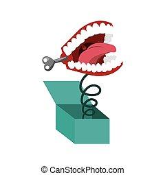 plaisanterie, boîte, dents, icône, rigolote, surprise