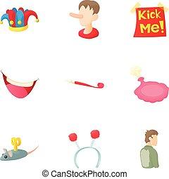 plaisanterie, ensemble, style, dessin animé, icônes