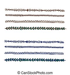 Plait and braids isolated on white background. Set of hand drawn laces. Vector design elements.