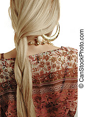 Plait of a young blond girl. Woman back with braided hair