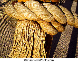 Fringed rope on a post
