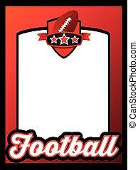plakát, šablona, jako, američanka football, mužstvo