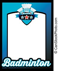 plakát, šablona, jako, badminton, klacek