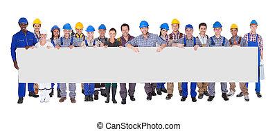 plakát, munkás, szerkesztés, csoport