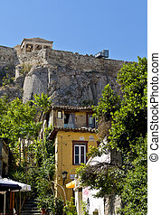 Plaka area and the Acropolis of Athens at Greece