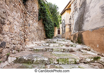 Plaka, Athens Greece. Old town narrow pedestrian streets and...
