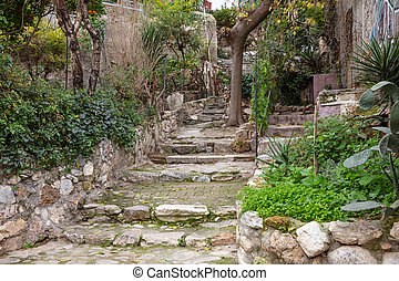 Plaka, Athens Greece. Old town narrow stairs, houses facades...
