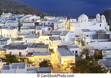 Plaka center - Panoramic view of Plaka in Milos Island. In...