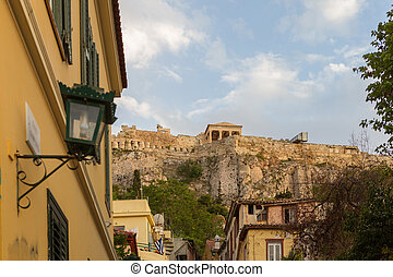 Plaka district in Athens Greece, with Acropolis in the background