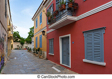 Plaka neighborhood in Athens. - Street with residential...