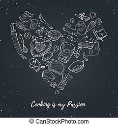 plakat, über, kochen