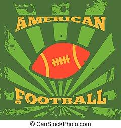 plakat, amerikanische , fußball, rugby