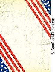 plakat, amerikanische , honigraum, fahne, dreckige