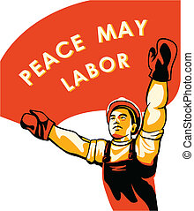 plakat, arbeiter, tag