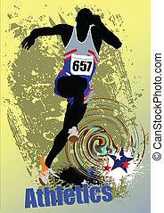 plakat, athletics., der, rennender , peop