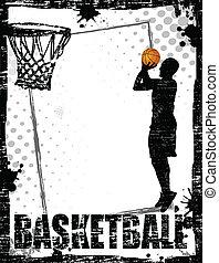 plakat, basketball, dreckige