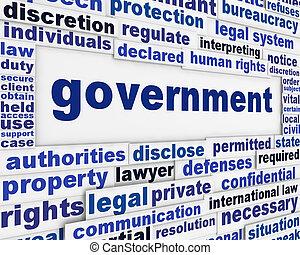 plakat, begriff, regierung