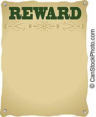 plakat, belohnung