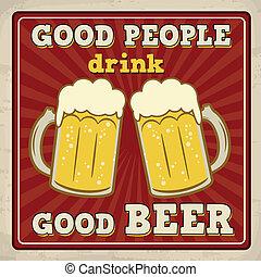 plakat, bier, guten, getränk, leute
