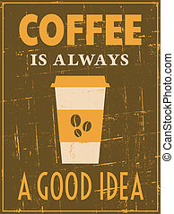 plakat, bohnenkaffee, retro