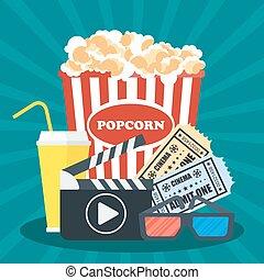 plakat, clapperboard, sinema