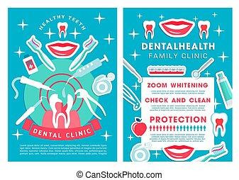 plakat, dental, liste, klinik, dienstleistungen, verfahren