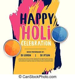 plakat, design, holi, einladung, feier, glücklich
