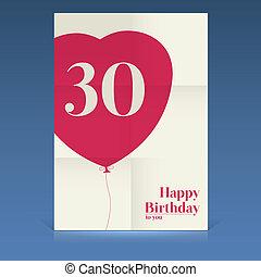 plakat, fødselsdag, glade