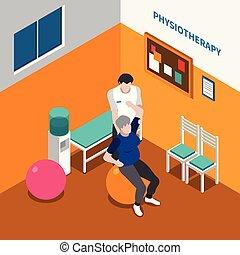 plakat, fysioterapi, isometric, rehabilitering