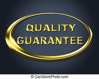 plakat, guaranteed, znak, widać, jakość, czek, gwarantować