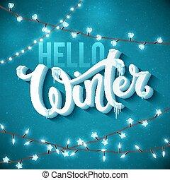 plakat, hallo, winter