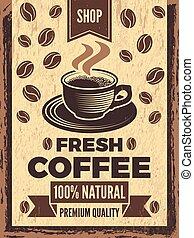 plakat, in, retro stil, für, kaffee- haus
