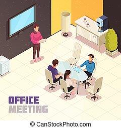 plakat, isometric, møde, kontor