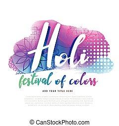 plakat, kreativ, design, holi, glücklich