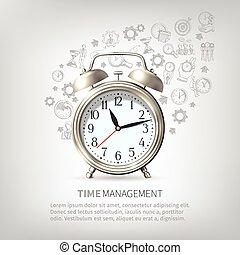 plakat, ledelse, tid