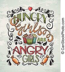 plakat, mädels, hungrig