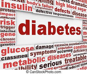 plakat, medizin, design, zuckerkrankheit
