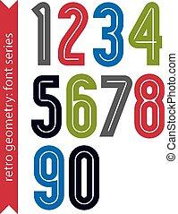 plakat, Mehrfarbig, Zahlen, klassisch