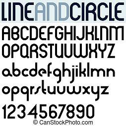 plakat, numbers., schwarz, schlanke, kreis, schriftart
