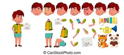 plakat, oprettelse, spøgefulde, asiat, design., positiv, set., isoleret, gestures., børnehave, animation, vector., animated., baby., booklet, illustration, væv, emotions, cartoon, barnet, dreng, zeseed, lille