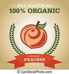 plakat, organische , pfirsich, ikone