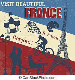 plakat, reise, frankreich
