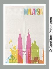 plakat, reise, malaysien, skyline, weinlese, wahrzeichen