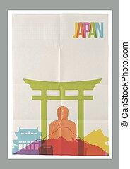 plakat, reise, skyline, weinlese, japan, wahrzeichen