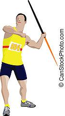 plakat, rennender , athletics., peopl