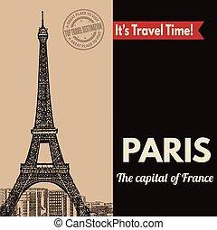 plakat, retro, paris, touristic