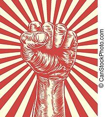 plakat, revolution, propaganda, faust