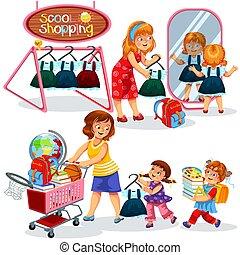 Tasche, schule, shoppen, abbildung, vorräte. Notizbücher ...