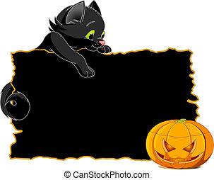 plakat, schwarze katze, einladen, oder